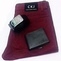 Kit Calca Masculina Skinny Colorida De Grife+cinto De Couro