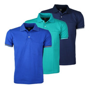 Kit 3 Camisas Gola Polo C/ Bolso Super Macia Colarinho Firme