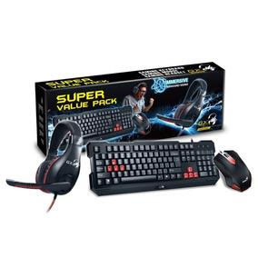 Combo Gamer Genius Teclado Mouse Auriculares Gx Kmh-200