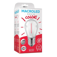 Macroled Lampara Led Deco Color Rojo Gota 1w S14 E27 80x45mm