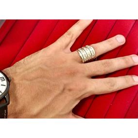 Anel Ostentação 7 Aros Ouro Prata Masculino Vazado Mc Funk