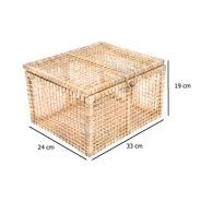 Baú Vazado Palha De Milho Caixa Ref.1404 33x24x19