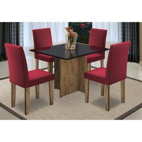 Mesa Para Sala De Jantar Mariana 4 Cadeiras Giovana Álamo/pr