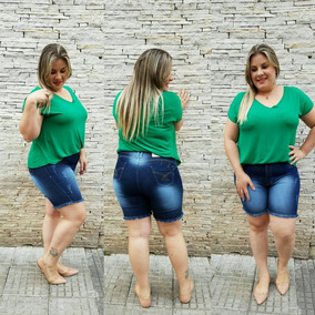 Roupas Femininas Bermuda Shorts Plus Size Jeans Cós Alto