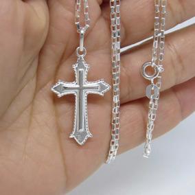 Corrente Cartie Pingente Crucifixo Masculino 60cm Prata 925