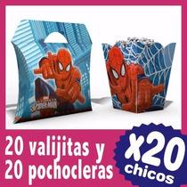 Spiderman Hombre Araña Pochoclera Y Cajita Souvenir X 20