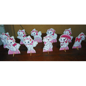 Kit 10 Gatinha Marie De Mesa,display,festa Infantil,mdf