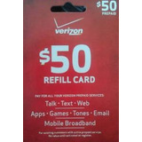 Verizon $ 50 Tarjeta De Recarga De Prepago (envío Por Correo