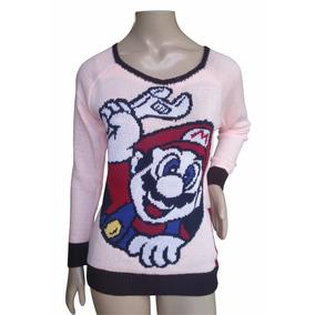 Blusa Tricot Feminina Lã Inverno Frio Rosa Estampada Mario