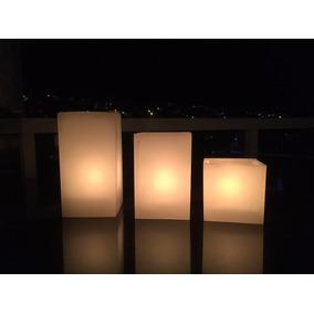 3 Luminárias Quadradas Em Parafina Branca - Cachepot Vela