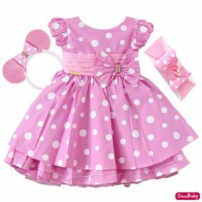 Vestido Infantil Festa Minnie Rosa Com 2 Tiaras Frete Grátis