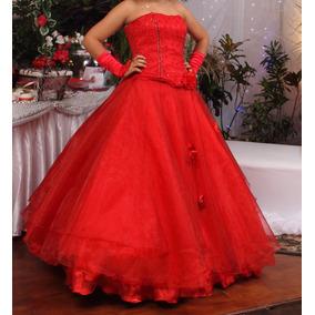 Vestido De 15 Años, Color Rojo Con Cojín Y Guantes Incluido.