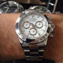 Relógio Daytona Prata Dial Branco Maquina Eta Frete Gratis