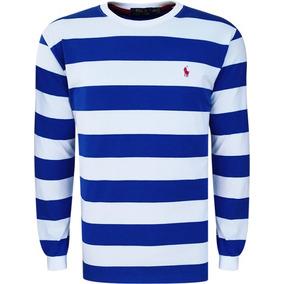 Blusa Polo Ralph Lauren Masculina Listrada Azul Branca