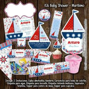 Kit Imprimible Invitaciones Recuerdos Baby Shower Marinero