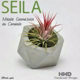 Matero Maceta Geométrica Minimalista Concreto Cemento Cactus