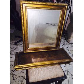 Espejo Y Repisa Madera Antiguo