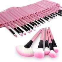 Kit Profissional 24 Pinceis Maquiagem Makeup Rosa + Bolsa