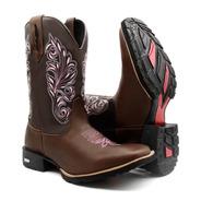 Bota Texana Feminina Em Couro Bico Quadrado Country Promoção