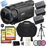 Camara Sony Fdr-ax53/b 4k Handycam Camcorder Deluxe Bundle