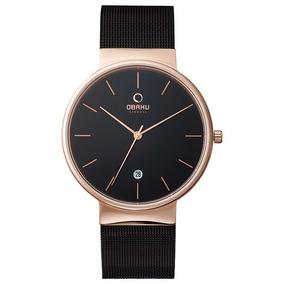 Reloj Obaku V153gdvbmb Negro Con Oro Rosa Original Hombre