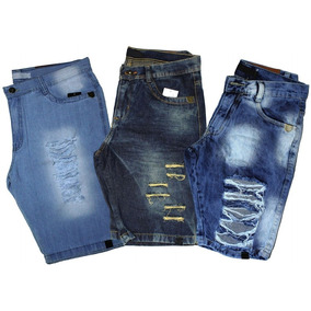 Kit 3 Bermudas Short Jeans Masculino Slim Destroyed Rasgada