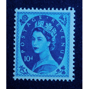 Inglaterra 1955 R. Elizabeth Il 10p Azul Royal Novo Perfeit