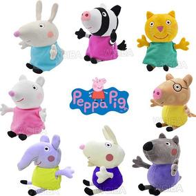 Kit Com 12 Pelucia Peppa Pig E Familia + Amigos Da Peppa