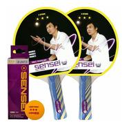 Combo Ping Pong Sensei 3 Estrellas Pack 2 Paletas + Pelotas
