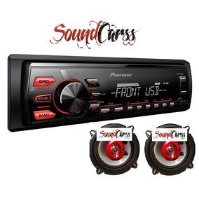 Stereo Pioneer Mvh 085 + Combo Parlantes 3 Vias 120w 5.25