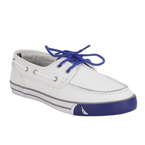 Cuero Bajo Cubierta Zapatos Blanco Nautica Hombre 7.5
