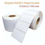 Etiqueta 50x30/ 1 Coluna Papel Couche 10 Rolos