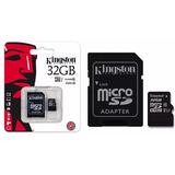 Memoria Micro Sd 32gb Kingston Clase10 Adaptador Celular+ Pc