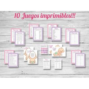 10 Juegos Imprimibles Baby Shower Nena/nene! Formato Grande.
