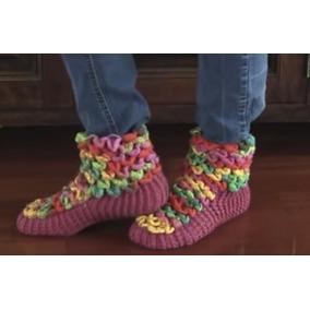 Botas Pantuflas Con Onditas A Crochet