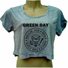 Blusa Cropped Green Day Feminina Camiseta Banda Manga Cinza cacd7047a02b7