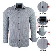 Camisa Masculina Com Elastano Listrada Lançamento 2020 1637
