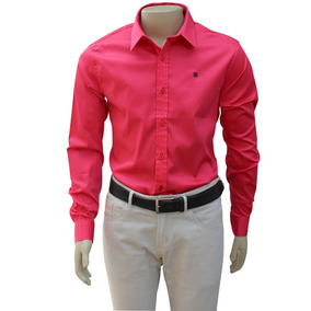 Camisa Rosa Slim Mpollo Cetim 100% Algodão