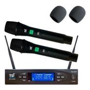 Microfone Tsi 8299 Uhf S/fio Duplo Mão Lançam Bastao Novo