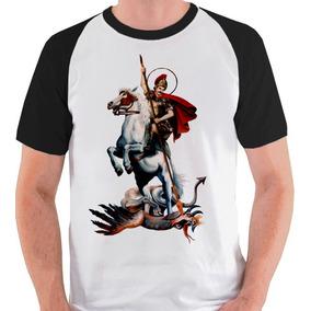 Camiseta São Jorge Santo Cristão Camisa Blusa Raglan