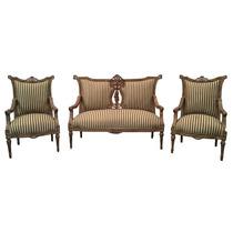 Namoradeira Antiga De Madeira Com 2 Cadeiras Estilo Luis Xv