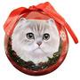Navidad Del Gato Persa Del Ornamento De La Bola Del Fragmen