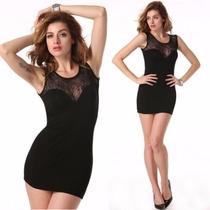Vestido Importado Corto Negro Elastizado + Tanga Hilo S-m