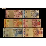 Notas De Real 2,5,10;20,50 E 100 Reais Colecione Presenteie