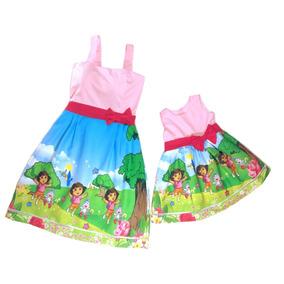 Kit Tal Mãe Tal Filha Vestido Dora Aventureira 1-6 Anos