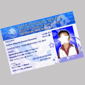 Invitaciones Tipo Credencial Elector, Ife Color Ambos Lados