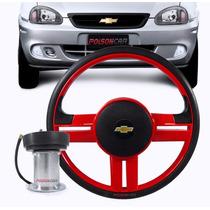 Volante Esportivo Corsa Wind 93 94 95 96 97 C/ Cubo Vermelho