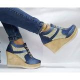 Calzado Deportivo Tenis Botín Plataforma Dama Jeans Azul Oro
