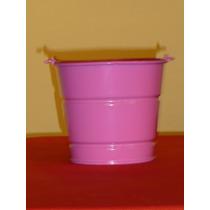 Cubeta De Lamina Color Rosa Con Asa 14 Cm Alto, 16 Cm Diam.