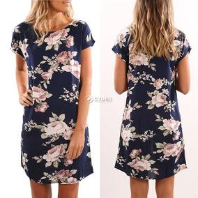 Vestido Casual Azul Con Rosas Tipo Camison Talla L Corto